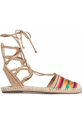 SCHUTZ Lace-up suede and metallic jacquard espadrilles