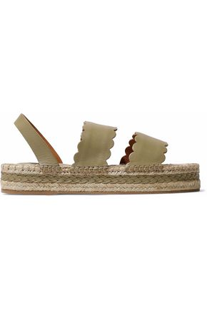ZIMMERMANN Scalloped leather espadrille platform sandals