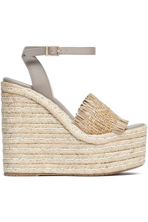 PALOMA BARCELÓ Leather and woven jute wedge sandals