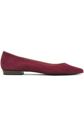 Flats Suede Pointed toe Embellished heel Slip on Rubber sole Made in Spain