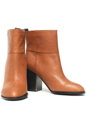 Jil Sander Navy Woman Leather Ankle Boots Camel