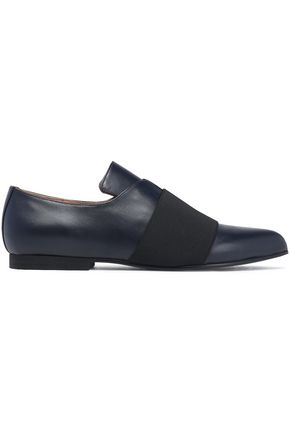 JIL SANDER NAVY Stretch knit-trimmed leather loafers
