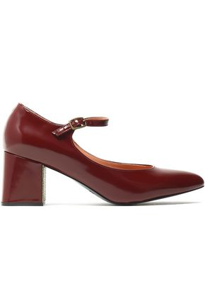 JIL SANDER NAVY Glossed-leather Mary Jane pumps
