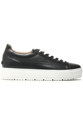 JIL SANDER NAVY Metallic textured-leather sneakers