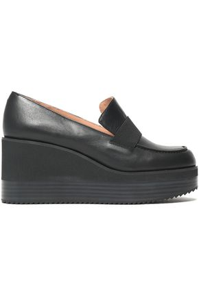 JIL SANDER NAVY Leather platform loafers