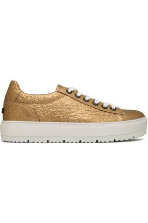 JIL SANDER NAVY Metallic crinkled-leather sneakers