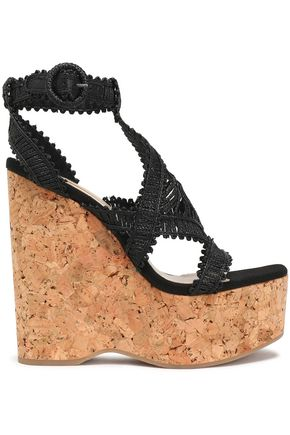 PALOMA BARCELÓ Crocheted leather platform wedge sandals