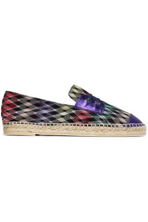 MISSONI Metallic leather-trimmed crochet-knit espadrille sneakers