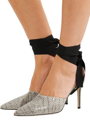 CHRISTOPHER KANE Grosgrain-trimmed watersnake mules