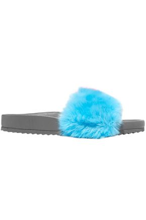 MIRA MIKATI Color-block faux fur slides