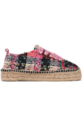 MANEBÍ Satin-trimmed bouclé-tweed espadrilles