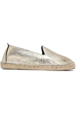 MANEBÍ Metallic crinkled-leather espadrilles