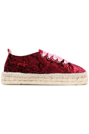 MANEBÍ Satin-trimmed crushed-velvet espadrilles