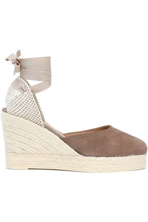 MANEBÍ Canvas and suede wedge espadrilles
