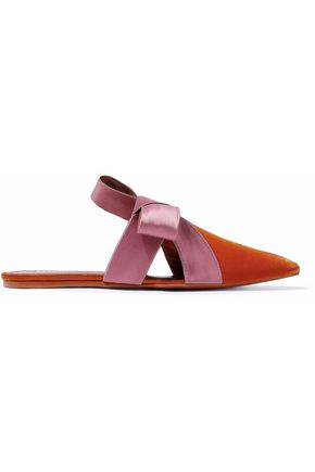 MERCEDES CASTILLO Cressida satin-trimmed cutout velvet slippers