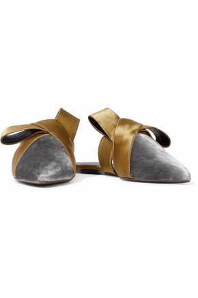 MERCEDES CASTILLO Cressida bow-embellished satin and velvet slippers