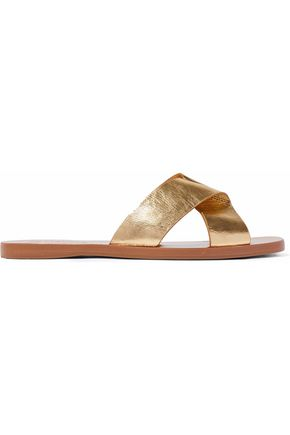 MERCEDES CASTILLO Amelea metallic crinkled-leather sandals