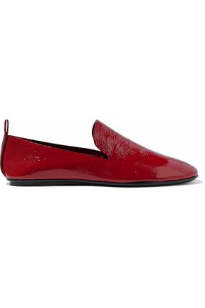 MERCEDES CASTILLO Tiziana textured patent-leather slippers