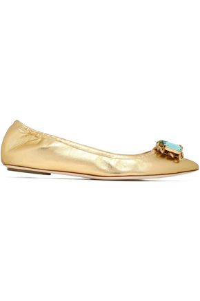 CASADEI Crystal-embellished metallic point-toe flats