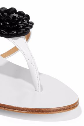 GIUSEPPE ZANOTTI Bead-embellished leather sandals
