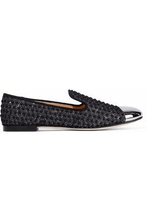 GIUSEPPE ZANOTTI DESIGN Metallic embroidered woven slippers