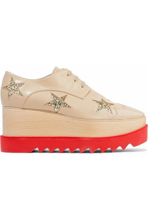 STELLA McCARTNEY Elyse glittered faux leather platform brogues