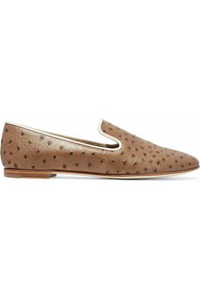 GIUSEPPE ZANOTTI Dalila croc-effect glossed-leather slippers
