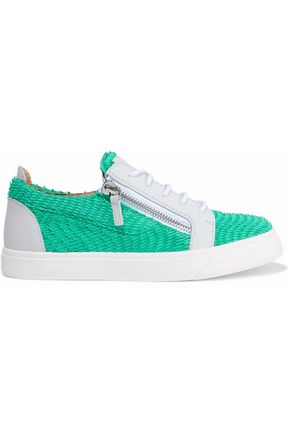 GIUSEPPE ZANOTTI London two-tone textured-leather sneakers