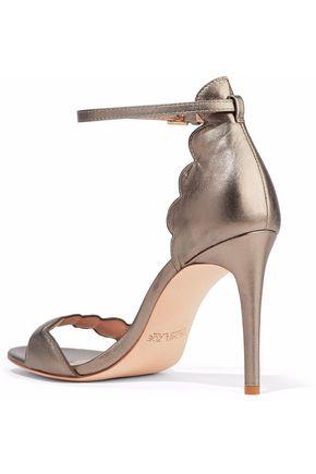 RACHEL ZOE Ava scalloped metallic leather sandals