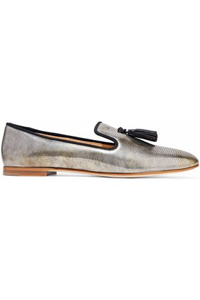 GIUSEPPE ZANOTTI DESIGN Dalila metallic lizard-effect leather slippers