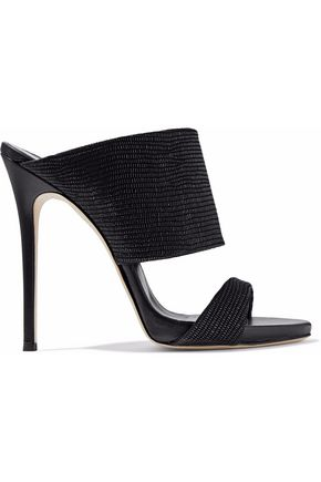 GIUSEPPE ZANOTTI Cutout textured-leather mules