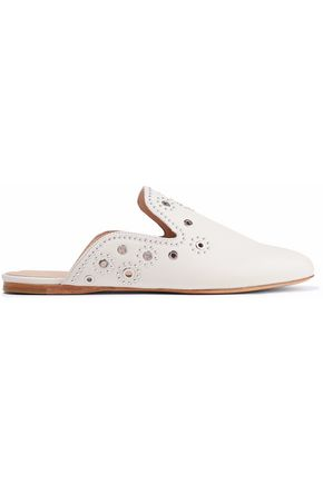 RACHEL ZOE Grace eyelet-embellished studded leather slippers