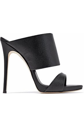 GIUSEPPE ZANOTTI Glossed snake-effect leather mules