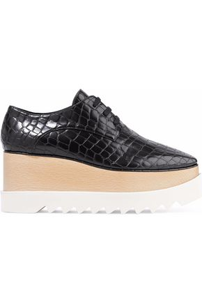 STELLA McCARTNEY Elyse croc-effect faux leather platform brogues