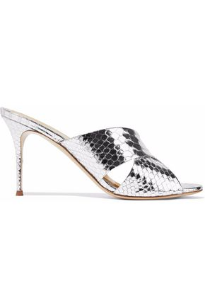 metallic-snake-effect-leather-mules by giuseppe-zanotti