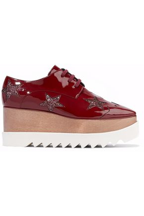 Elyse Glittered Faux Patent Leather Platform Brogues by Stella Mc Cartney