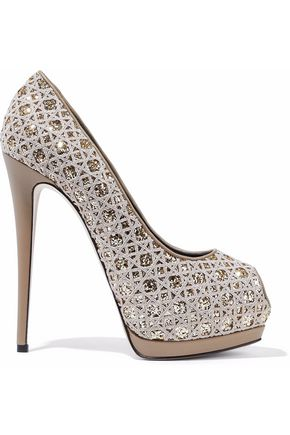GIUSEPPE ZANOTTI Sharon glittered embroidered leather platform pumps
