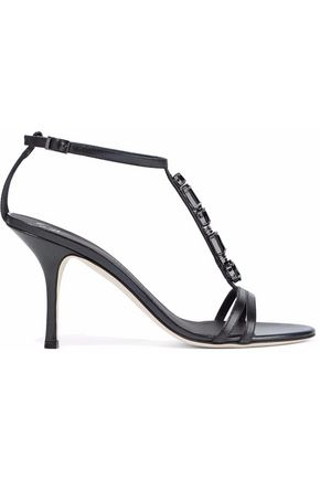 GIUSEPPE ZANOTTI Crystal-embellished glossed-leather sandals