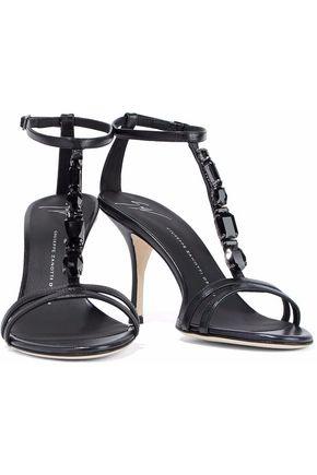 GIUSEPPE ZANOTTI Crystal-embellished glossed-leather sandals