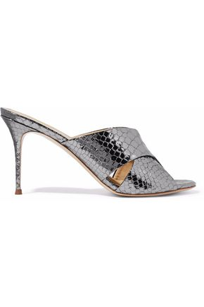 GIUSEPPE ZANOTTI Metallic snake-effect leather mules