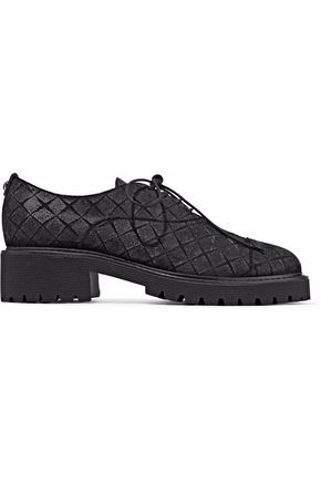 WOMAN TEXTURED-LEATHER BROGUES BLACK