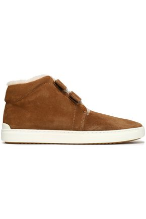 RAG & BONE Suede and shearling high-top sneakers
