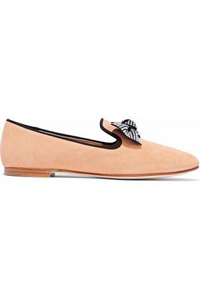 GIUSEPPE ZANOTTI Dalila bow-embellished suede slippers