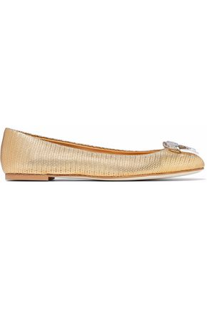 bow-embellished-metallic-embossed-leather-ballet-flats by giuseppe-zanotti