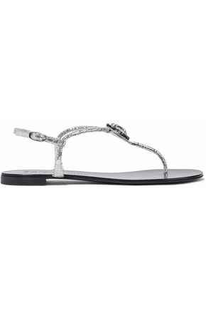 GIUSEPPE ZANOTTI Crystal-embellished metallic cracked-leather sandals