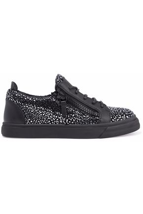 GIUSEPPE ZANOTTI London leather and metallic suede sneakers