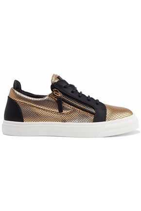 GIUSEPPE ZANOTTI London two-tone perforated metallic leather sneakers