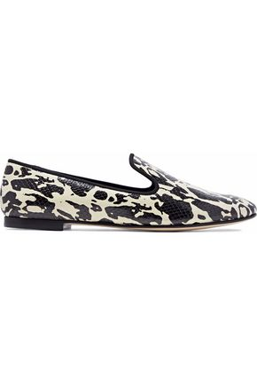 GIUSEPPE ZANOTTI Dalila printed snake-effect leather slippers