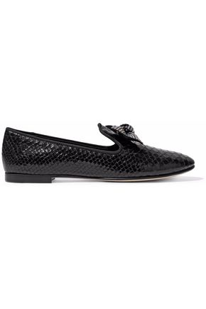 GIUSEPPE ZANOTTI DESIGN Dalila bow-embellished croc-effect patent-leather slippers