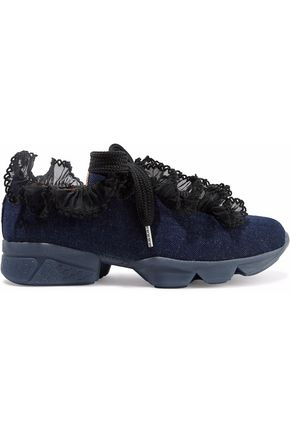 GANNI Ariana ruffled lace-trimmed denim sneakers